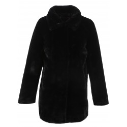 LUNA (REF. 62688) BLACK – SHORT LENGHT FAKE FUR COAT WITH SHIRT COLLAR