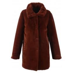 LUNA (REF. 62688) RUST– SHORT LENGHT FAKE FUR COAT WITH SHIRT COLLAR
