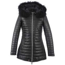 63097 - BLACK LEATHER DOWN JACKET POPPY LUXE