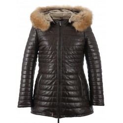 62592 - CHOCOLATE LEATHER DOWNJACKET POPPING