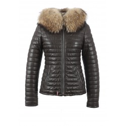HAPPY (REF. 61677) BROWN - REAL FUR HOODED GENUINE LEATHER JACKET