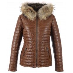 HAPPY (REF. 62666) COGNAC - TWO-TONE GENUINE LEATHER DOWN JACKET