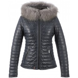 HAPPY (REF. 62666) BLUE - TWO-TONE GENUINE LEATHER DOWN JACKET