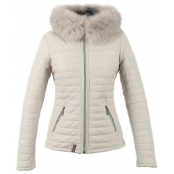 HAPPY (REF. 61677) LIGHT BEIGE - REAL FUR HOODED GENUINE LEATHER JACKET