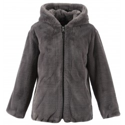 CONNECT (REF. 63051) ANTHRACITE - HOODED FAKE FUR JACKET
