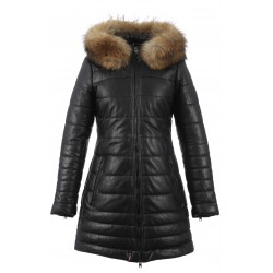 MARY (REF. 62943) BLACK – HOODED GENUINE LEATHER DOWN JACKET WITH FUR