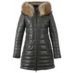 MARY (REF. 62943) DARK KHAKI – HOODED GENUINE LEATHER DOWN JACKET WITH FUR