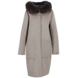 YALE BI (REF. 62178) BEIGE/GREY - LONG REVERSIBLE WOOL COAT