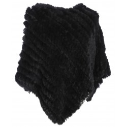 56034 - BLACK FUR PONCHO DAVOS