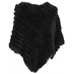 DAVOS (REF. 56034) BLACK - REAL FUR PONCHO