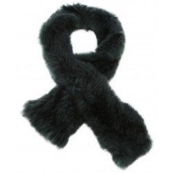 62411 - DARK GREEN FUR SCARF VIRTUOSE