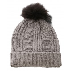 62633 - LIGHT BROWN WOOL BEANIE WITH BOBBLE COOL