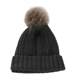 62633 - DARK GREEN WOOL BEANIE WITH BOBBLE COOL