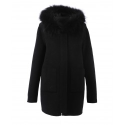 63078 - BLACK MERINOS WOOL REVERSIBLE COAT YUCATAN BI