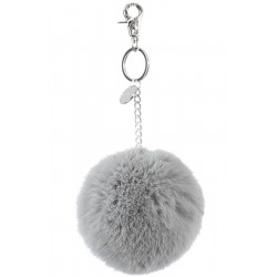 62161 - PALE BLUE KEYRING POMPON RABBIT FUR