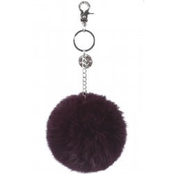 62161 - PLUM KEYRING POMPON RABBIT FUR