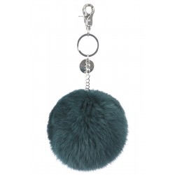 62161 - EMERALD KEYRING POMPON RABBIT FUR