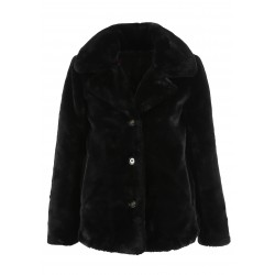 63054 - BLACK FAKE FUR COAT DRING