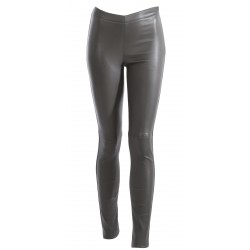 ANTARES (REF. 63018) DARK KHAKI - GENUINE LEATHER TROUSERS
