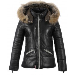 62937- BLACK LEATHER DOWNJACKET AVALANCHE