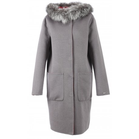 62178 - MERINOS WOOL REVERSIBLE DARK GREY COAT YALE BI