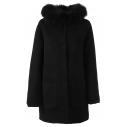 63101 - WOOL REVERSIBLE BLACK COAT SCHOOL BI