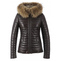 HAPPY (REF. 62666) CHOCOLATE - TWO-TONE GENUINE LEATHER DOWN JACKET