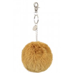 XELDA (REF. 62240) DARK YELLOW - REAL FUR POMPOM KEYRING