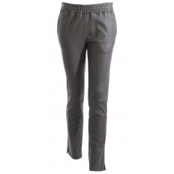 63019 - DARK KHAKI LEATHER TROUSERS ENERGY