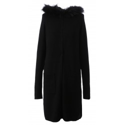 62644 - LONG BLACK WOOLEN CARDIGAN YEAR