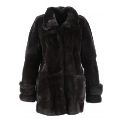 62934 - DARK GREY REAL FUR COAT MOOD