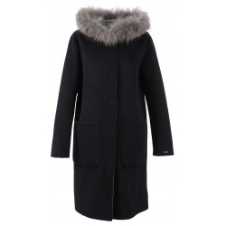 62178 - DARK BLUE MERINOS WOOL REVERSIBLE COAT YALE BI