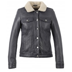MIKI (REF. 63004) DENIM - GENUINE LEATHER JACKET