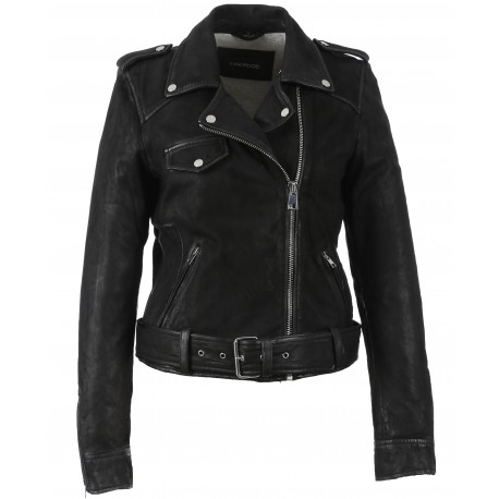 PLEASE (REF. 62988) BLACK – GENUINE NUBUCK LEATHER JACKET