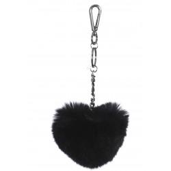 BLACK FUR HEART LUXURY KEYRING