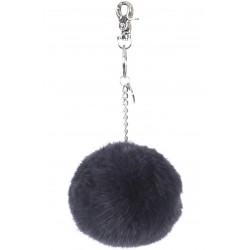 62161 - PETROL BLUE KEYRING POMPON RABBIT FUR
