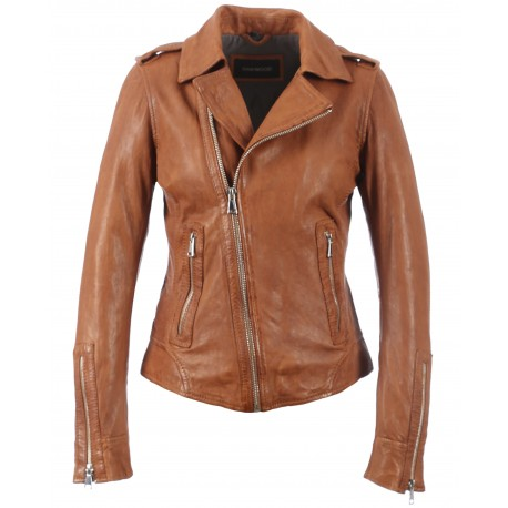 the best new products picked up MANGA (REF. 62967) COGNAC – WASHED LOOK GENUINE LEATHER JACKET - OAKWOOD -  THE LEATHER BRAND