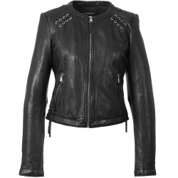 63171 - LEATHER JACKET WITH LACES FLEX