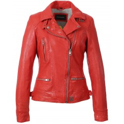 VIDEO (REF. 62065) DARK RED - WASHED LOOK GENUINE LEATHER JACKET