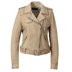 PLEASE (REF. 62988) MASTIC – GENUINE NUBUCK LEATHER JACKET