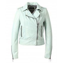 63125 - LIGHT GREEN LEATHER JACKET CITY