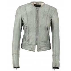 63147 - ICE BLUE LEATHER JACKET FLAME