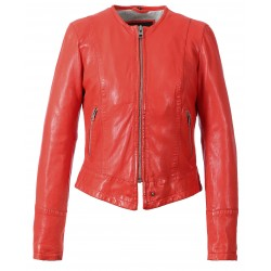 63170 - DARK RED LEATHER JACKET FLAME